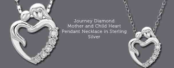 Mother and child heart pendant necklace in sterling silver journey diamond mother and child heart necklace shop pendants aloadofball Image collections
